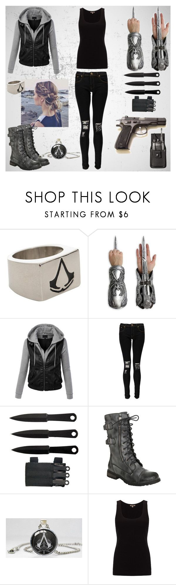 """Assassin girl/ Assassin's Creed modern"" by irishandpround ❤ liked on Polyvore featuring LE3NO, Boohoo, Jigsaw and modern"