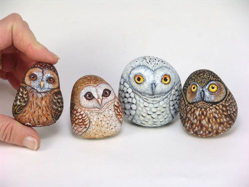 painted collectible owls_pietrevive.it