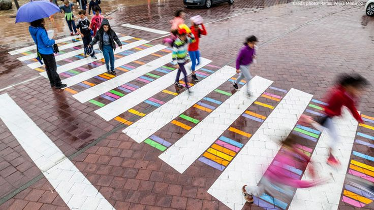 Colorful crosswalk in Madrid, Spain, designed by Christo Guelov - photo by Rafael Perez Martinez, via Contemporist