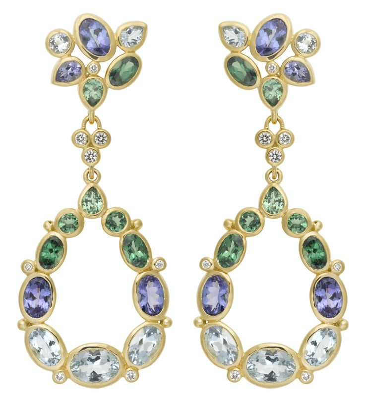 Temple St. Clair 18K Anima Cluster Pear Drop Earrings with Blue Moonstone, Aquamarine, Tanzanite, Tsavorite, and Diamond.
