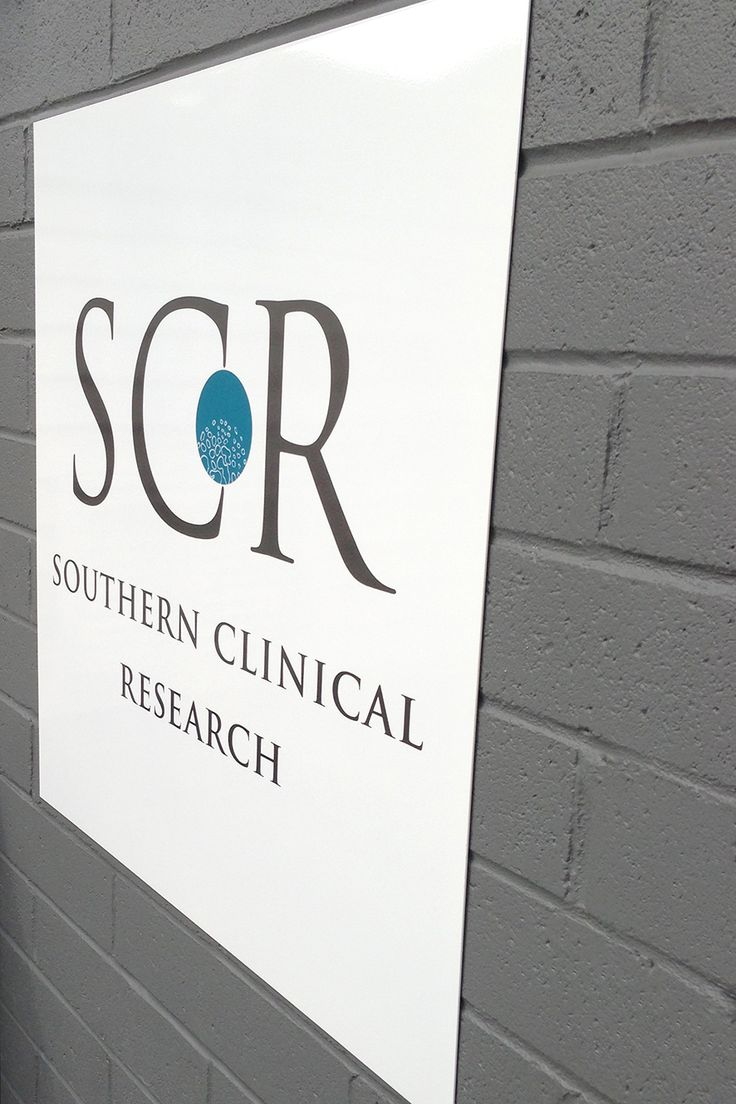 Signage design and photo for Southern Clinical Research by Jane Valentine.