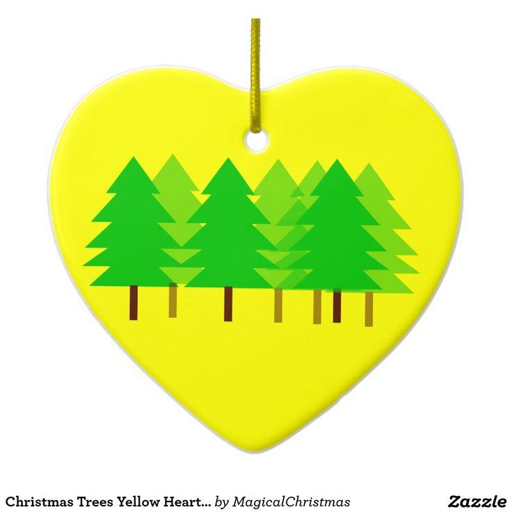 Christmas Trees Yellow Heart Ornament