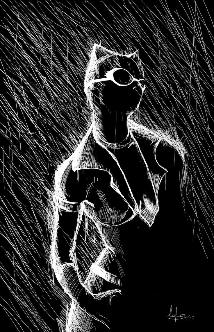 {Catwoman - scratch-style art} cool Batman art