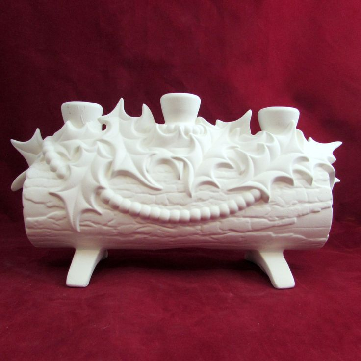 Ready to Ship Ceramic Ready to Paint Christmas Log Candle Holder - 11 inches long -bisque by aarceramics on Etsy