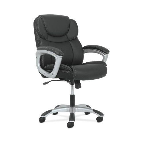 basyx by HON Mid-Back Executive Chair in Black Leather/Silver Frame
