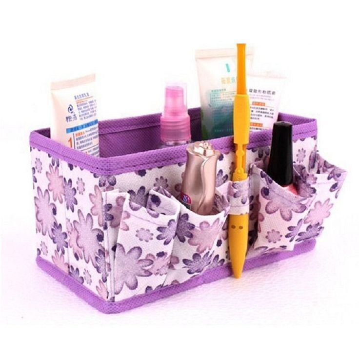 Naivety 2016 Neue Helle Floral Makeup Kosmetiktasche Aufbewahrungsbox Veranstalter Mädchen Faltbare Stationäre Container 11S60921