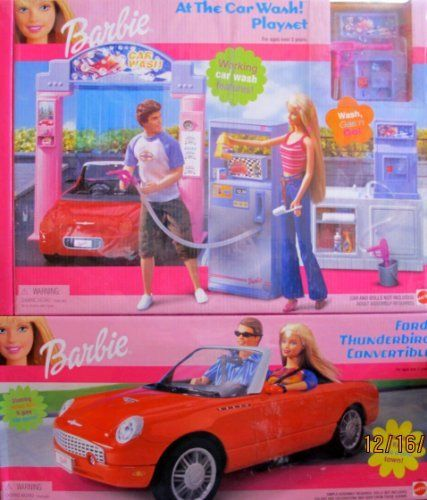 """RARE Barbie At The Car Wash & Ford Thunderbird Convertible Vehicle DOUBLE PACK w Working Car Wash! (2002) by Mattel. $389.99. For ages 3+ Years. ADULT ASSEMBLY required for Car Wash & Simple Assembly for Vehicle. All sizes & details are approximate & may vary.. Boxed Set is approx. 21"""" x 18"""" x 4-1/2"""". For Box Condition see CONDITION NOTE or Email Seller for Details.. Car Wash Playset includes a Working Car Wash where Barbie Doll & Friends can Wash her Car, Gas Up & GO..."""