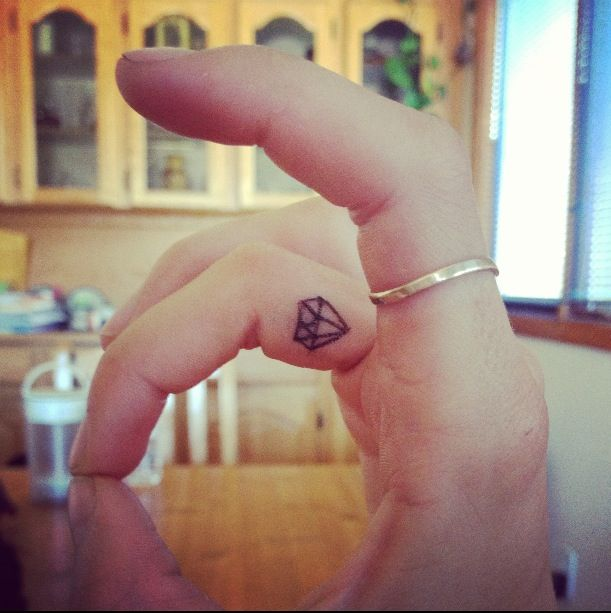 304c2b292d039 Ceker: Diamond Finger Tattoo Tumblr Diamond tattoo on inside of