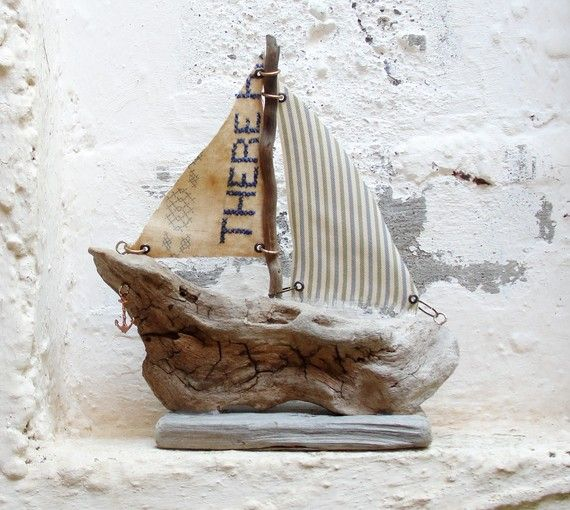 boat made out of driftwood