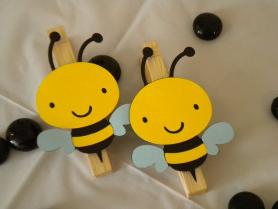 Bumble Bee ClothespinsSet of 12 by ClassyAndSimple on Etsy, $19.50. Would make them magnetic