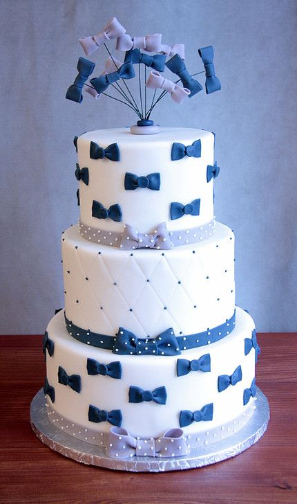 A Bowtie baby shower cake from the frosted fox cake shop.
