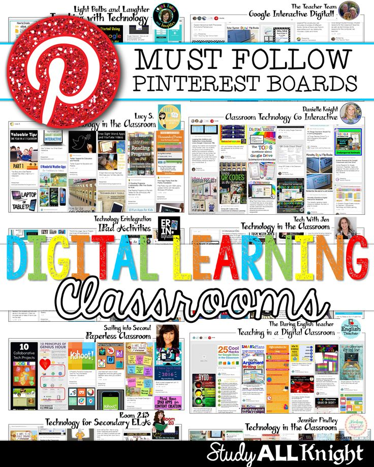 Are you looking for awesome technology Pinterest boards for teachers to follow? Then you'll love this post! You'll get ideas for iPads, tablets, Google classroom, 1:1, apps, organization of technology, classroom management revolving around technology, and everything else related to technology! Ideas for elementary, middle school, and high school can all be found here! Must Follow Pinterest Boards for Digital Learning Classrooms