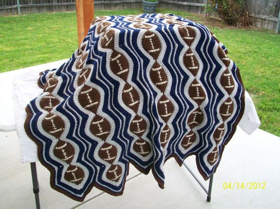 Blue Silver Football Team Colors Crochet Afghan Crocheted ...
