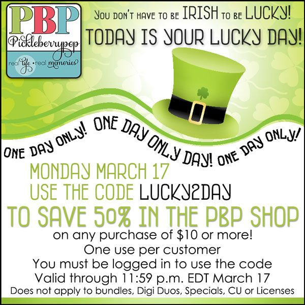 You still have a few hours left to get in on the LUCK OF THE IRISH Promo at PBP - use the code on the graphic to save 50% on many products in our shop (see exclusions on graphic). Shop quick...the code expires at 11:59 p.m. EDT tonight! https://pickleberrypop.com/shop