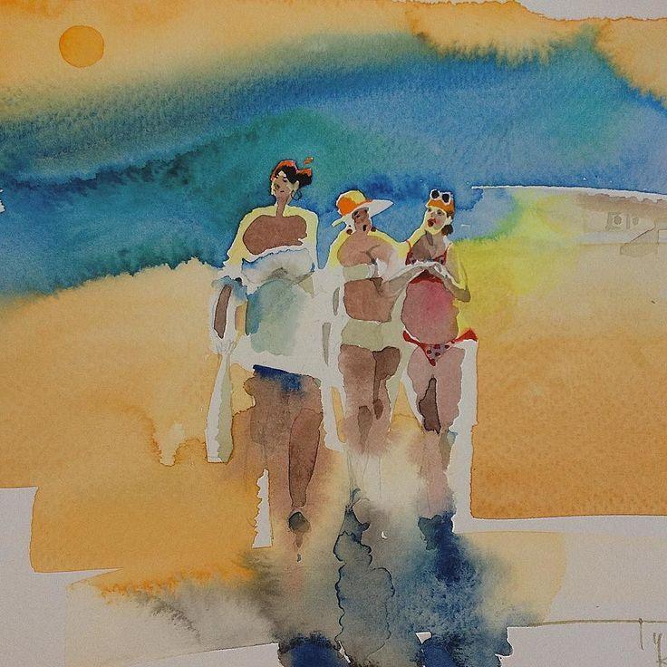"""Вчера еще наблюдала """" трёх граций"""" в лучах уходящего солнца Туниса а сегодня обтекаю на диване в Нижнем. Чудесные времена всего за несколько часов мы перемещаемся на тысячи километров. Да ещё на железных птицах! Доброго вечера! ) #travel #женщины #инстаарт #акварель #иллюстрация #артконовалова #тунис #юмор #набросок #художник #watercolor #topcreator #artgallery #watergalery #sunset #see #море #mediterranean #summer #лето"""