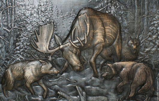 Животные ручной работы. Ярмарка Мастеров - ручная работа. Купить Резьба по дереву Лось и волки. Handmade. Комбинированный, резьба по дереву