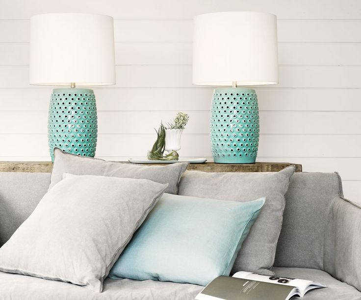 Beacon Lighting - Tatum 1 light table lamp in mint with white shade