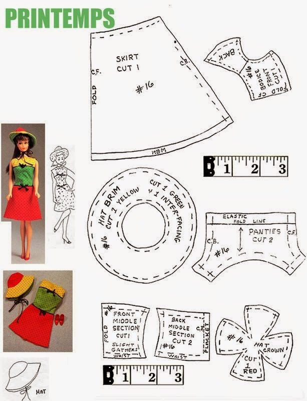 Herbie's Doll Sewing, Knitting & Crochet Pattern Collection: Vintage Barbie / Francie Sized Dress & Hat Pattern...