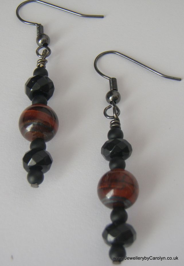 Red Tiger's Eye, Black Onyx and Frosted Black Agate Earrings £4.00