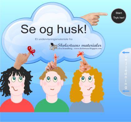 """Smart Notebook-lektion fra www.skolestuen.dk - """"Se og husk"""" - Den gamle """"Kims""""-leg omsat til Smartboard. Træn hukommelse, iagttagelse og samarbejde."""