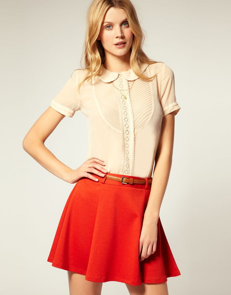 .: Asos Shirts, Trim Blouses, Back To Schools, Asos Peter, Peter Pan Collars, Collars Pintuck, Schools Outfits, Bright Colors, Asos Fashion