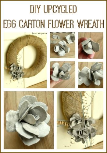 Spring Crafts | DIY Upcycled Egg Carton Flower Wreath - this craft is perfect for repurposing leftover egg cartons from Easter!
