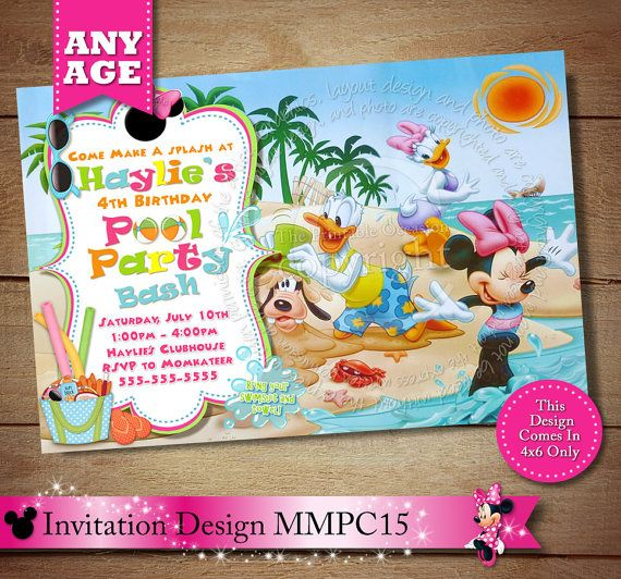 Girl's Mickey Minnie Mouse Clubhouse Birthday Invitation. Minnie Summer Pool Party Invitation