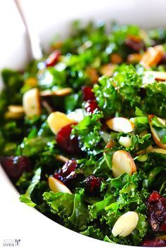 Kale Cranberry Salad Recipe -- a healthy, simple, and delicious recipe for the new year!   gimmesomeoven.com