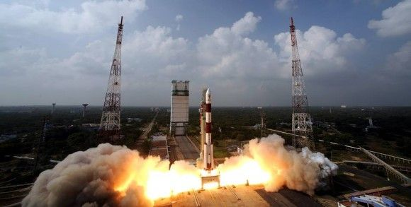 Blastoff of the Indian developed Mars Orbiter Mission (MOM) on Nov. 5, 2013 from the Indian Space Research Organization's (ISRO) Satish Dhaw...