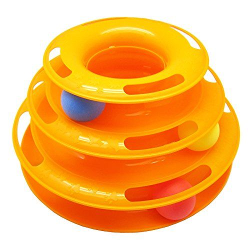 Alfie Pet by Petoga Couture - Ian Tower of Tracks Interactive Cat Toy - Color: Orange