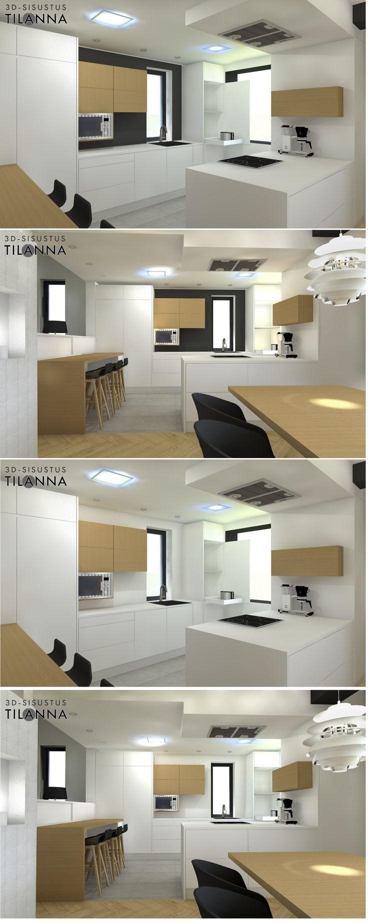 3D-visualisointi ja kokonaisvaltainen sisustussuunnittelu uudisrakennukseen / moderni - skandinaavinen keittiö, valkoinen seinä vs. musta seinä, valkoiset nanopintaiset kiintokalusteet sekä tammea ripaus, valkoinen kvartsitaso, musta taustaseinä, valkoinen taustaseinä, kattoliesituuletin, harmaa laatta 60x60 koossa, kalanruotoparketti, valaisin Ph snowball/ 3D-sisustus Tilanna