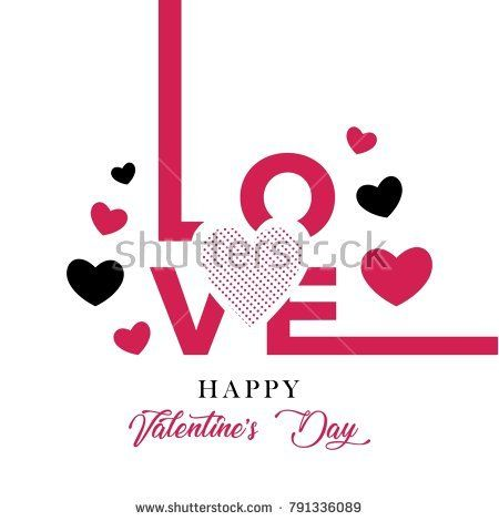 Happy valentine's day. Poster, card, illustration template. Pink, red, feminine style.