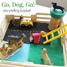 """Go, Dog, Go! Storytelling Basket- a great """"learn through play"""" activity for toddlers and preschoolers!"""