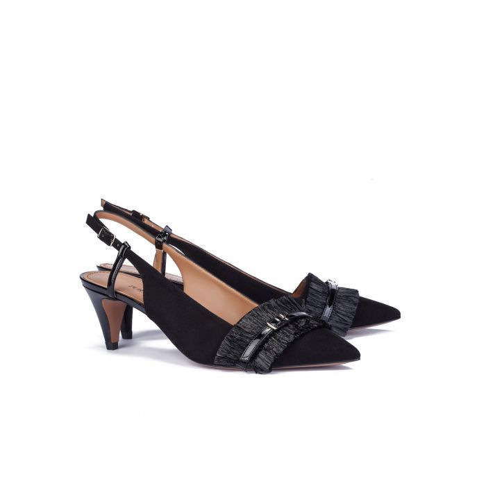 Heeled pumps in black suede - online shoe store Pura Lopez