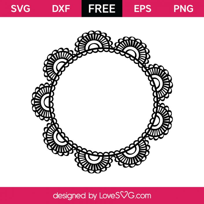 *** FREE SVG CUT FILE for Cricut, Silhouette and more *** Lace Doodle Monogram Frame