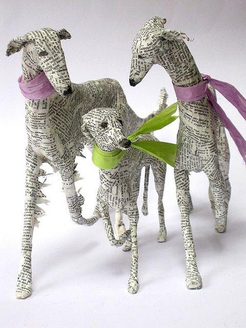 Paper Mache Sighthounds by Lorraine Corrigan.