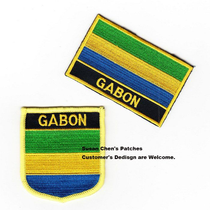 Gabon Flag patches embroidered flag patches national flag patches Free Shipping #Affiliate