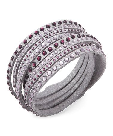 This Gray & Purple Austrian Crystal Wrap Bracelet is perfect! #zulilyfinds