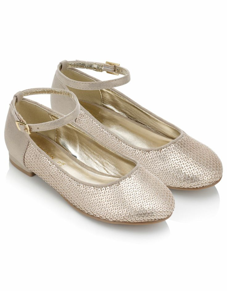 Gold Glitter Flower Girl Shoes