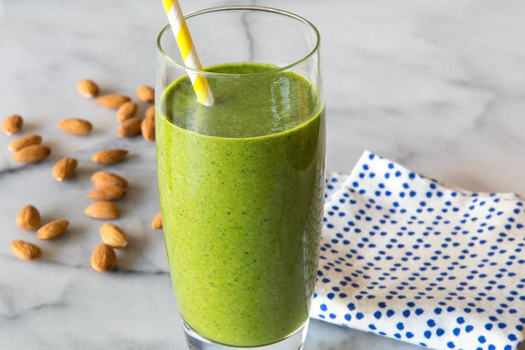 Almond Butter Spinach Smoothie for Breakfast! almond butter, fresh spinach, vanilla almond milk, ripe banana, frozen pineapple chunks and optional chia or flax seeds