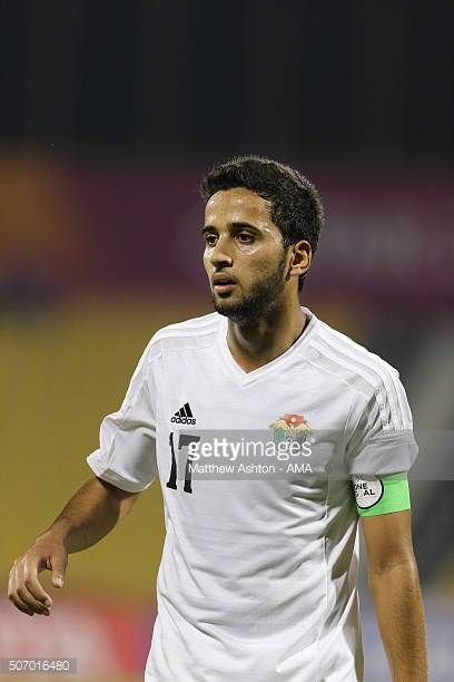Rajaei Ayed Fadel Hasan of Jordan during the AFC U23 Championship quarter final match between South Korea v Jordan at the Suhaim Bin Hamad Stadium on...