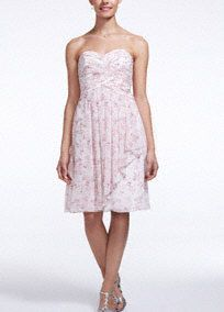 A fun and ultra-feminineprint will give your bridal party a unique flair!  Strapless allover printbodice withsweetheart neckline features ruched bust that creates texture.  This short crinkle chiffon dress hits right above the knee.  Fully lined. Back zip. Imported polyester. Dry Clean.  To protect your dress, try our Non Woven Garment Bag.