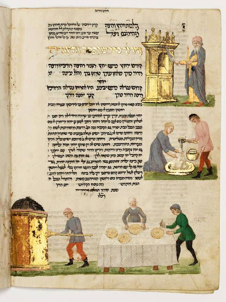 The Rothschild Miscellany © The Israel Museum, Jerusalem, Preliminary preparations for Passover. Fol. 155v. The Rothschild Miscellany. Northern Italy. ca. 1460-80. Handwritten on vellum; brown ink, tempera, gold and silver leaf; square and semi-cursive Ashkenazic script. Height: 21 cm; Width: 15.9 cm. Gift of James A. de Rothschild, London. Accession number: B61.09.0803o.s.; 180/051.(http://commons.wikimedia.org/wiki/File:The_Rothschild_Miscellany_-_Google_Art_Project.jpg)