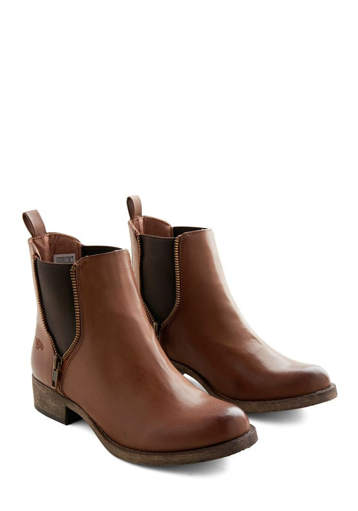 Casual Influence Boot. Ever since you slipped into the laid-back style of these cognac-hued booties, youve assembled more low-key looks to accompany them. #brown #modcloth
