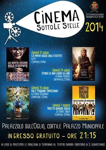 Cinema Sotto le stelle a #Palazzolo s/O - Giovedi 24 'Storia di una ladra di libri'