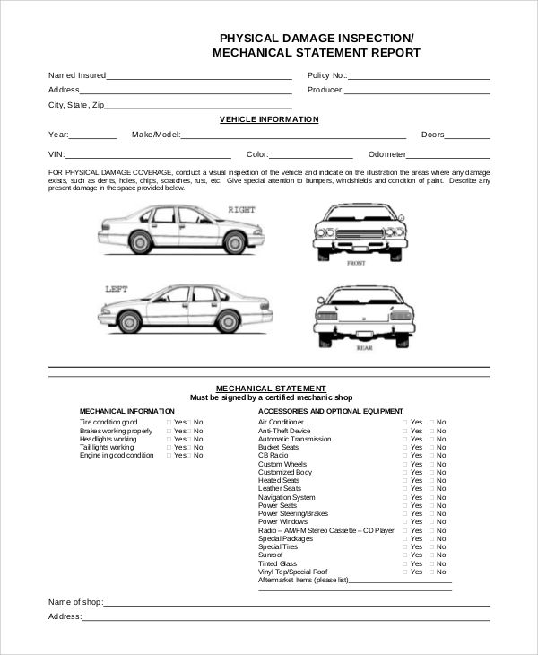 Sample Templates Sample Vehicle Inspection Form 8 Examples