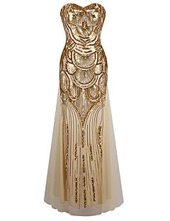 Women's Formal / Party/Cocktail Sexy / Vintage / Cute Swing Dress, Strapless Maxi Sleeveless Gold Polyester – USD $ 28.99