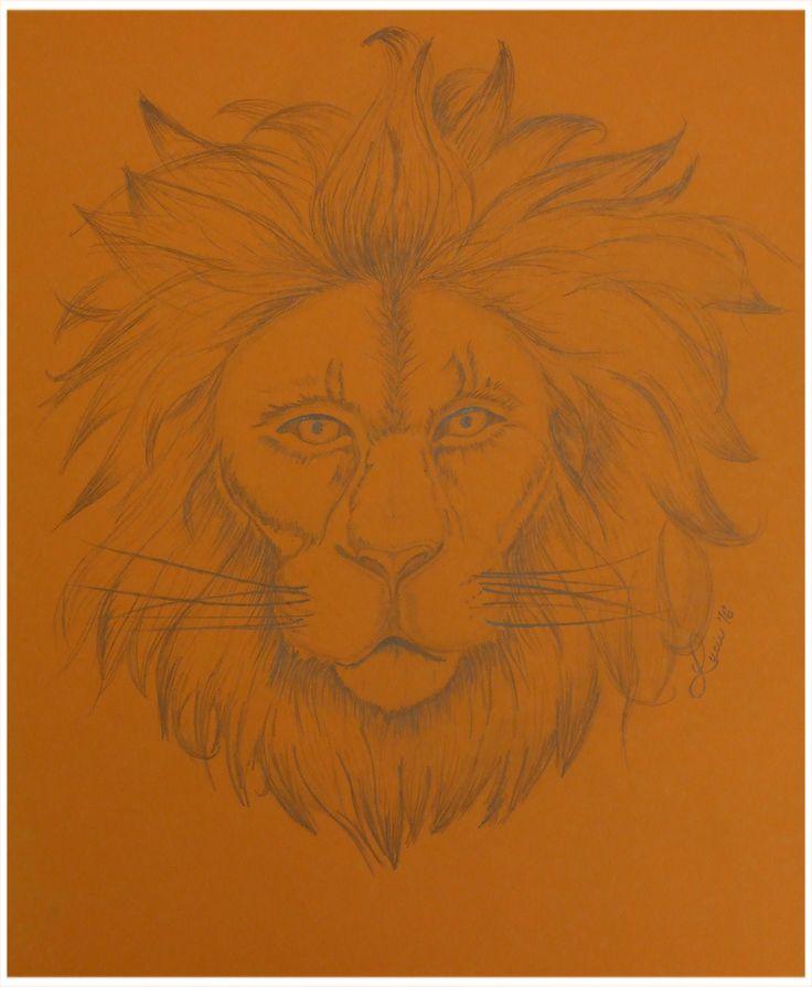 výzva den 28. - divočina (lev, tužkou na oranžové A3)(a špatně se to fotí, tužka bleskem v umělém osvětlení hází odlesky, zkusím za denního světla)