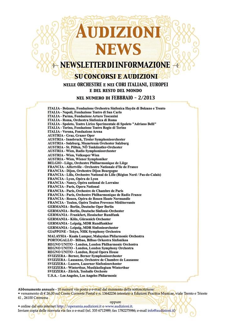 AUDIZIONI news n. 2 - febbraio  www.audizioni.iy