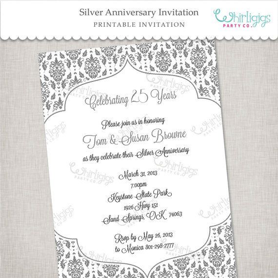 25th Silver Anniversary Printable Invitation In Blue And